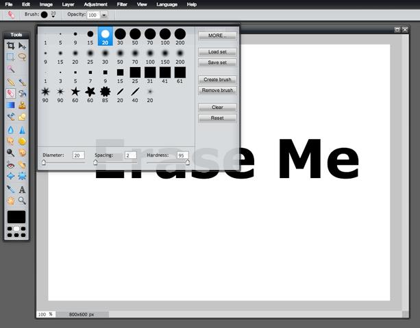 Eraser Tool (Screen 2)