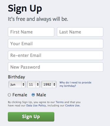 How to create a facebook profile (Screen 1)
