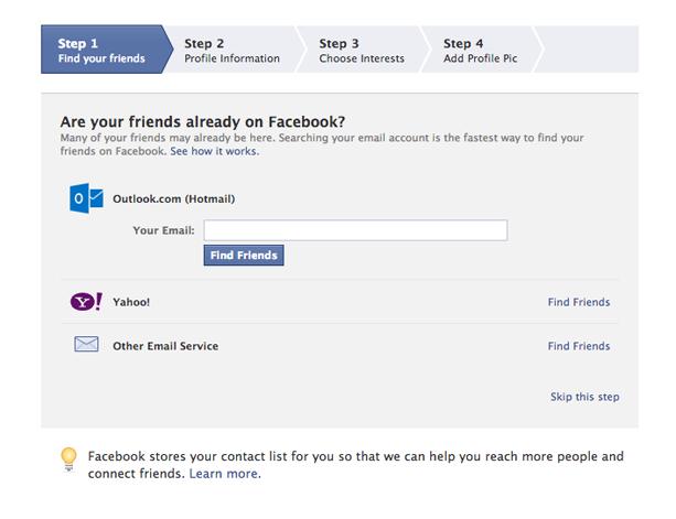 How to create a facebook profile (Screen 2)