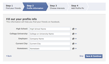 How to create a facebook profile (Screen 3)