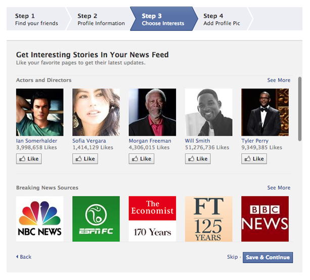 How to create a facebook profile (Screen 4)
